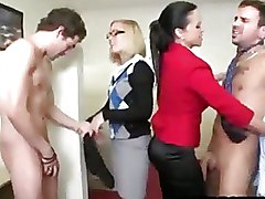 CFNM Group Sex Office babe blowjob clothed fuck naked